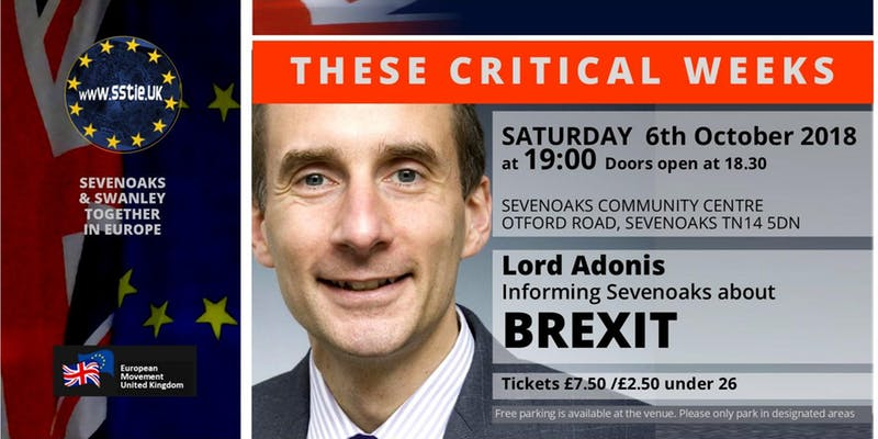 "Lord Adonis speaking on ""These Critical Weeks"" – 6 October 2018."